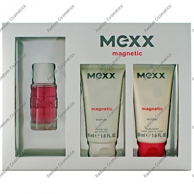 Mexx magnetic women woda toaletowa 15 ml spray + Żel pod prysznic 50 ml + balsam do ciaŁa 50 ml