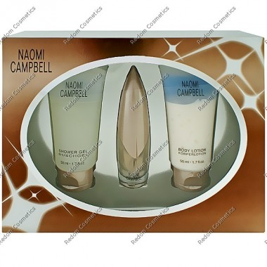 Naomi campbell woda toaletowa 15 ml spray + ÂŻel od prysznic 50 ml + balsam do ciaÂŁa 50 ml