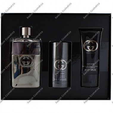 Gucci guilty pour homme woda toaletowa 90 ml spray + sztyft 75 ml + Żel pod prysznic 50 ml