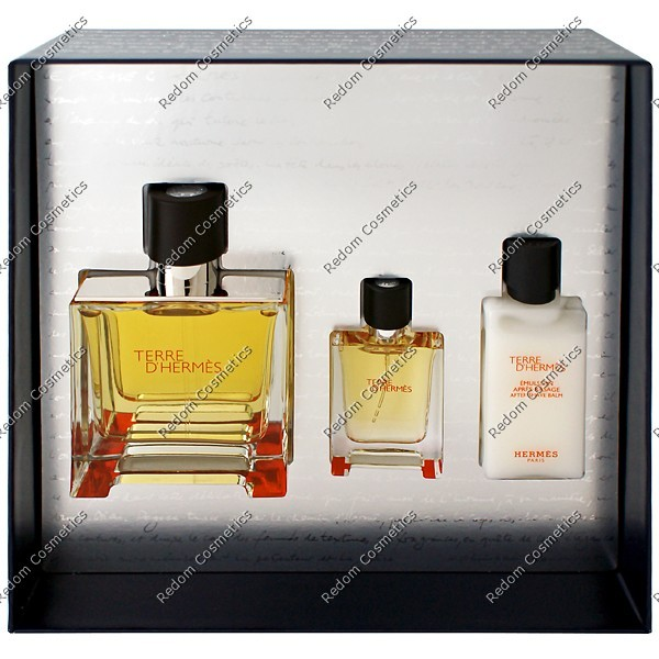 HERMES TERRE D HERMES WODA PERFUMOWANA 75 ML SPRAY + WODA PERFUMOWANA 12,5 ML SPRAY + BALSAM PO GOLENIU 40 ML